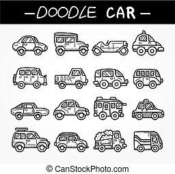 doodle, komplet, rysunek, wóz, ikona