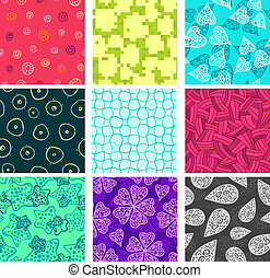 doodle, komplet, seamless, wzory