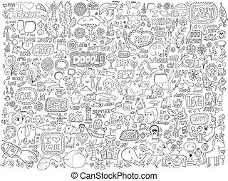 doodle, kwiaty, komplet, zwierzęta, ludzie