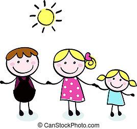 doodle, ojciec, -, izolować, rodzina, koźlę, macierz, biały