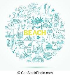 doodle, plaża