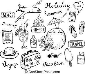doodle, podróż, elementy, komplet
