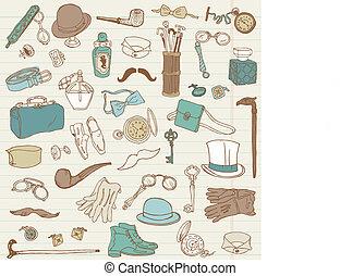 doodle, -, przybory, zbiór, ręka, wektor, pociągnięty, gentlemen's