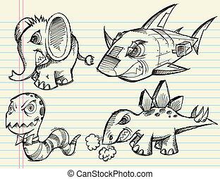 doodle, rys, wektor, komplet, zwierzę