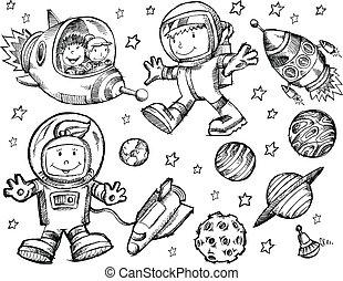 doodle, rys, wektor, zewnętrzna przestrzeń