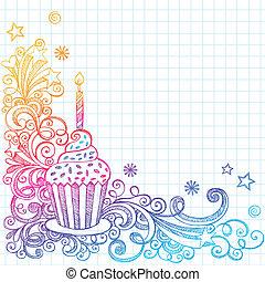 doodle, sketchy, urodziny, cupcake