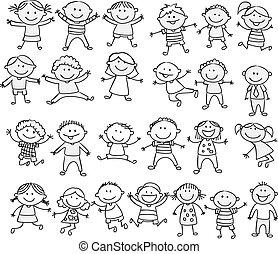 doodle, szczęśliwy, rysunek, zbiór, koźlę