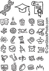 doodle, szkoła, kolegium, ikony