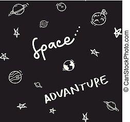 doodle, temat, seamless, tło, przestrzeń
