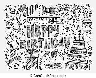 doodle, urodziny, patt, partia, seamless