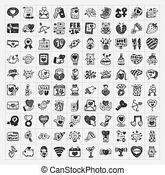 doodle, valentine dzień, ikona