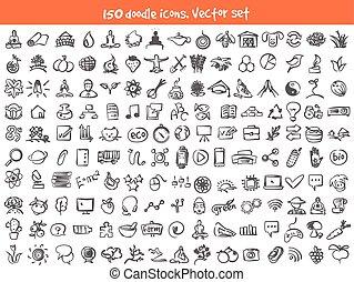 doodle, wektor, komplet, ikony
