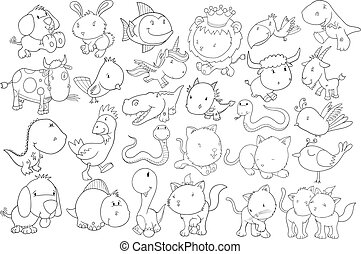 doodle, wektor, komplet, zwierzę