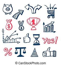 doodles, komplet, handlowe ikony