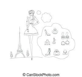 doodles, komplet, paryż, fason