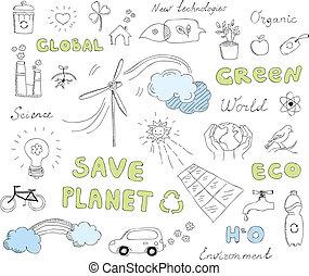 doodles, komplet, wektor, ekologia, elementy