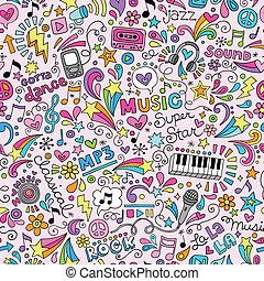 doodles, notatnik, muzyka, próbka