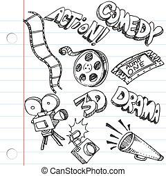 doodles, papier, notatnik, rozrywka