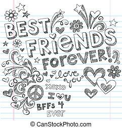 doodles, sketchy, wektor, przyjaciele, najlepszy