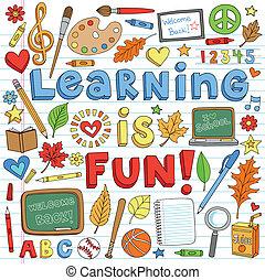 doodles, szkoła, komplet, wstecz, nauka