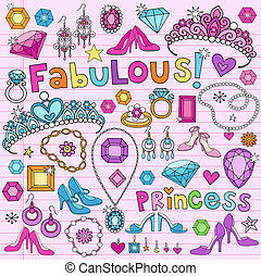 doodles, wektor, komplet, księżna