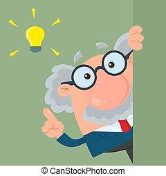 dookoła, cielna, profesor, litera, idea, albo, patrząc, naukowiec, róg, rysunek