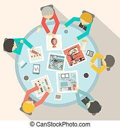 dookoła, handlowy, górny, wektor, stół, koło, spotkanie, prospekt