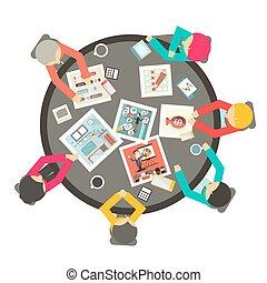 dookoła, handlowy zaludniają, górny, ilustracja, wektor, stół, koło, spotkanie, prospekt