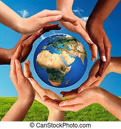 dookoła, kula, razem, multiracial, siła robocza, świat