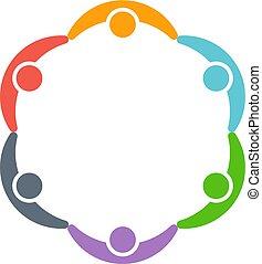 dookoła, ludzie, circle., wektor, projektować, logo, dzieci