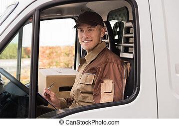 doręczenie, checklist, człowiek, wózek, zrobienie