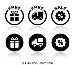 doręczenie, dar, sprzedaż, wolny, ikona