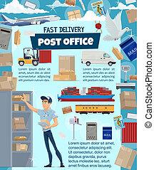 doręczenie, poczta, pocztowy, szczegóły, służba
