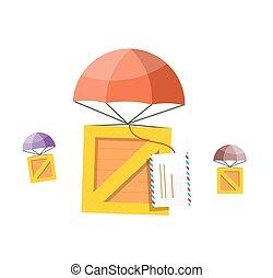 doręczenie, poczta, spadochron, box., powietrze