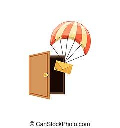 doręczenie, spadochron, przelotny, koperta, służba