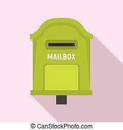 doręczenie, styl, płaski, ikona, skrzynka pocztowa
