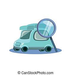doręczenie, wóz, mały, szkło powiększające