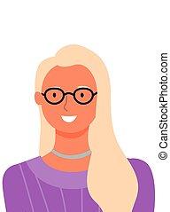 doradca, blondynka, online, portret, wektor, kobieta