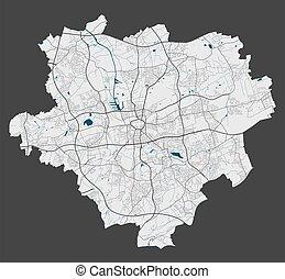 dortmund, cityscape., szczegółowy, illustration., miasto, wolny, mapa, królewskość, wektor