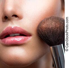 doskonała skóra, kosmetyczny, proszek, charakteryzacja, brush., closeup.