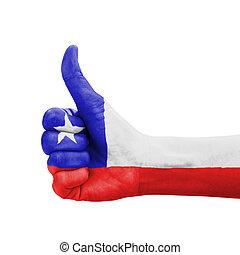 doskonałość, symbol, chile, kciuk do góry, bandera, ręka, barwiony