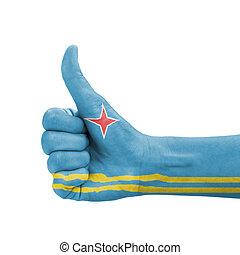 doskonałość, symbol, do góry, kciuk, aruba bandera, ręka, barwiony