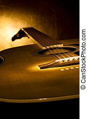 doskonały, gitara, muzyka, tło.
