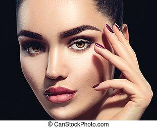 doskonały, kobieta, piękno, makijaż, odizolowany, tło., brunetka, czarnoskóry, charakteryzacja, profesjonalny, święto