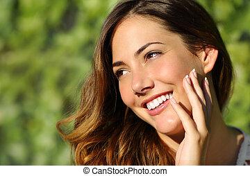 doskonały, kobieta, piękno, ząb, uśmiech, biały