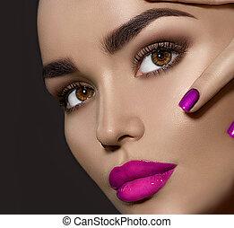 doskonały, makijaż, kobieta, brunetka, piękno