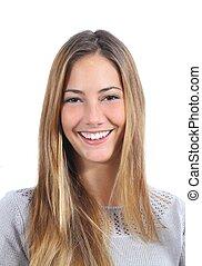 doskonały, uśmiech, kobieta, młody, portret