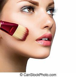 doskonały, zwracający się, cosmetic., baza, make-up., charakteryzacja