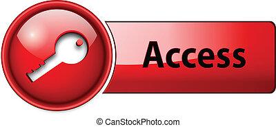 dostęp, ikona, guzik