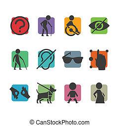 dostęp, komplet, barwny, ludzie, fizycznie, niepełnosprawny, wektor, znaki, ikona